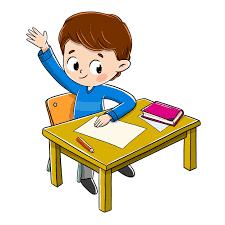 Criança na sala de aula, levantando a mão para responder a uma ...