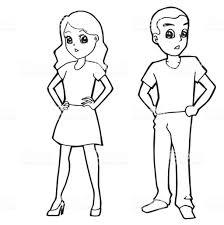 Vetores de Desenhos Animados Criança Menino Menina Ou Coloração ...