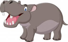 Hipopótamo de desenhos animados com a boca aberta | Vetor Premium